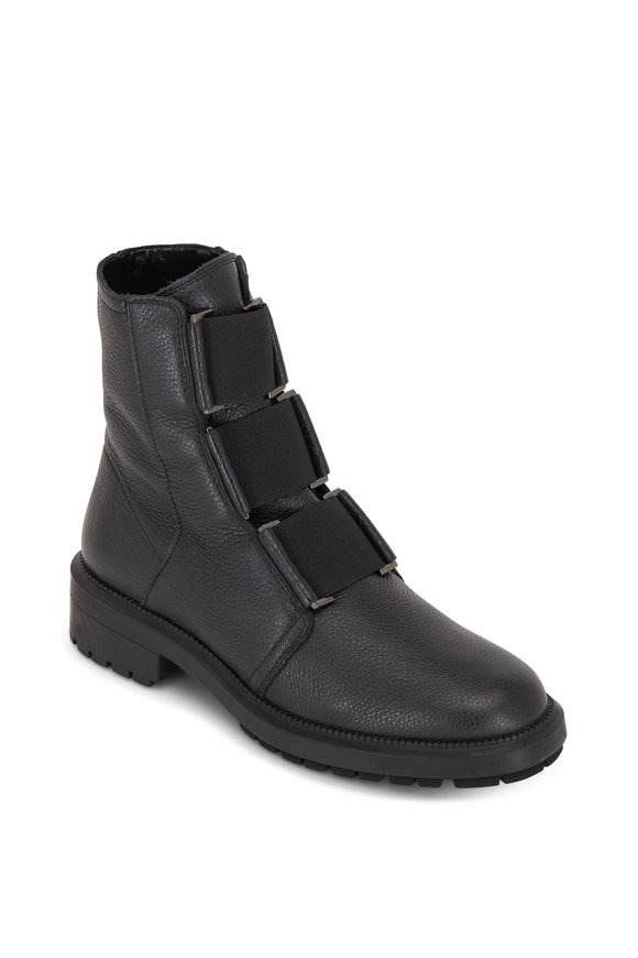 Aquatalia Liv Black Tumbled Leather Elasticized Ankle Boot