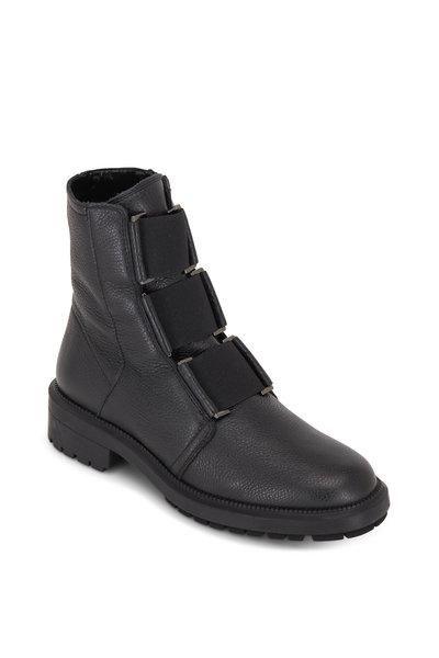 Aquatalia - Liv Black Tumbled Leather Elasticized Ankle Boot