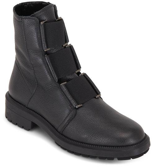 Aquatalia Liv Black Tumbled Leather Elasticized Ankle Boot