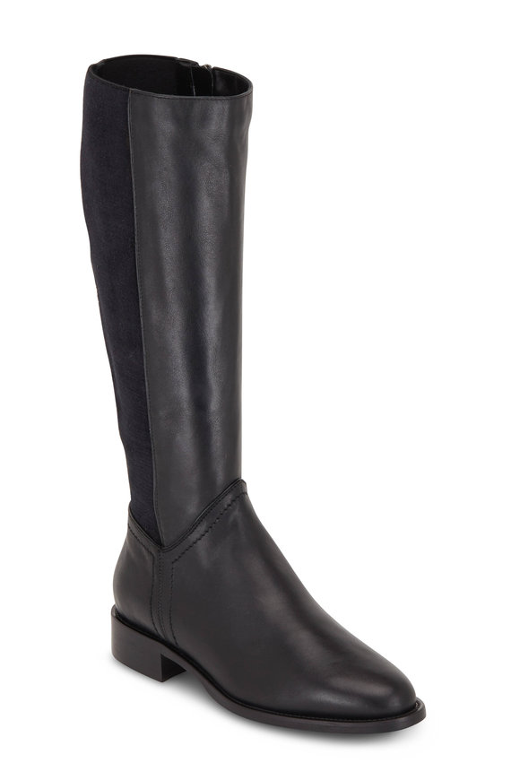 Aquatalia Nia Black Leather & Stretch Cashmere Tall Boot