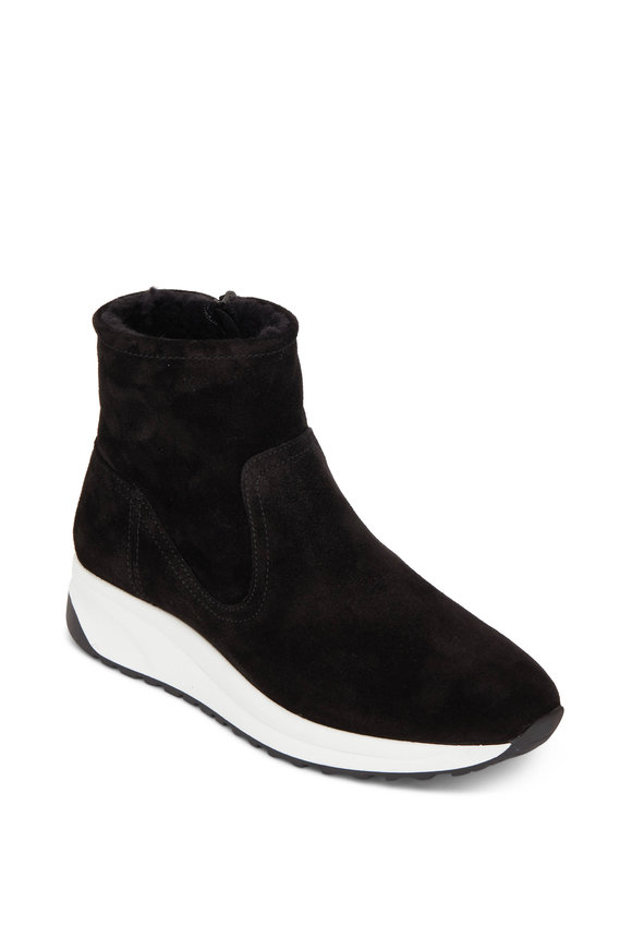 Aquatalia Betty Black Suede Shearling Lined Sneaker Boot