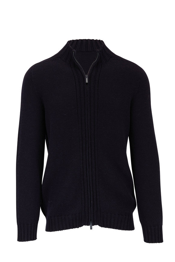 04651/ Fisherman Navy Front Zip Wool Jacket