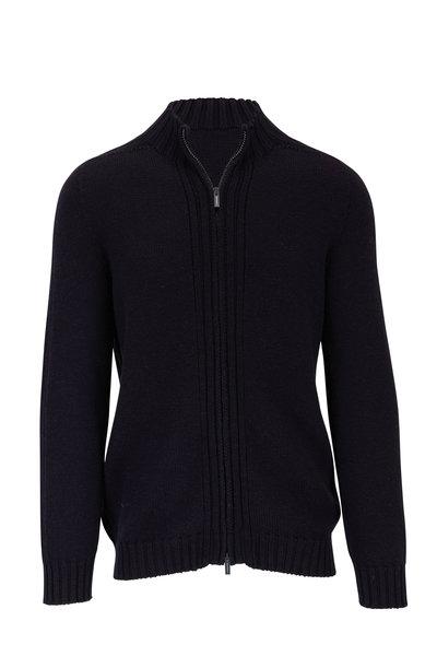 04651/ - Fisherman Navy Front Zip Wool Jacket
