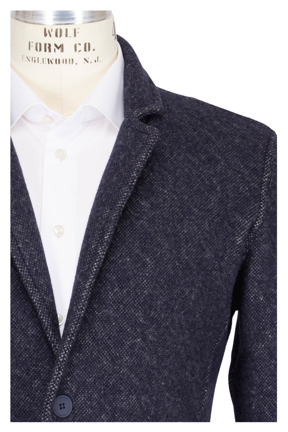 04651/ Navy Cotton & Wool Knit Front Button Jacket