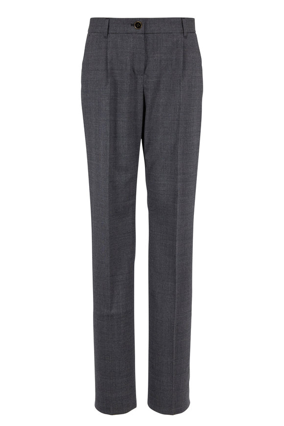 Dolce & Gabbana Dark Gray Stretch Wool Tartan Plaid Pant