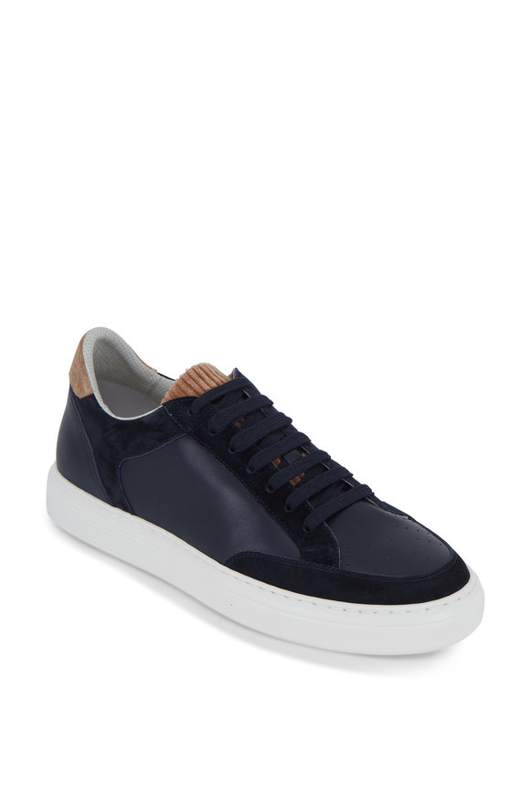 Brunello Cucinelli Navy Blue Leather & Suede Low-Top Sneaker
