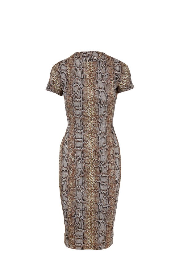 Victoria Beckham Khaki Snake Jacquard Short Sleeve T-Shirt Dress