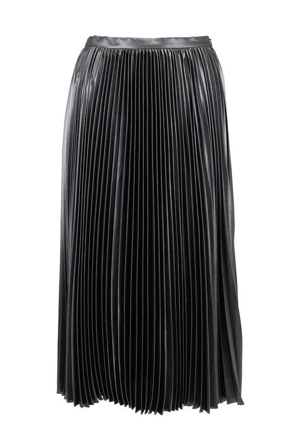 Akris Punto Silver Metallic Plissé Midi Skirt