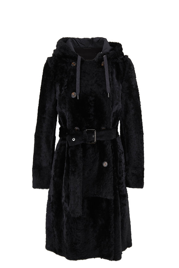 Brunello Cucinelli Exclusively Ours! Black Shearling Belted Coat