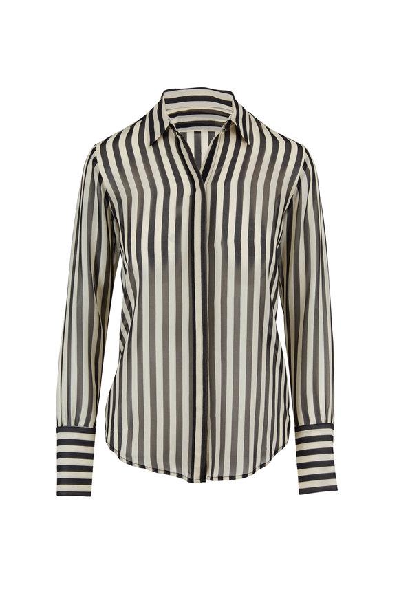 Nili Lotan Lleida Black & Cream Stripe Silk Shirt