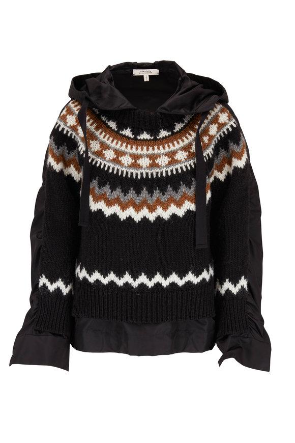 Dorothee Schumacher Black Wool & Alpaca Front Knit Nylon Hoodie