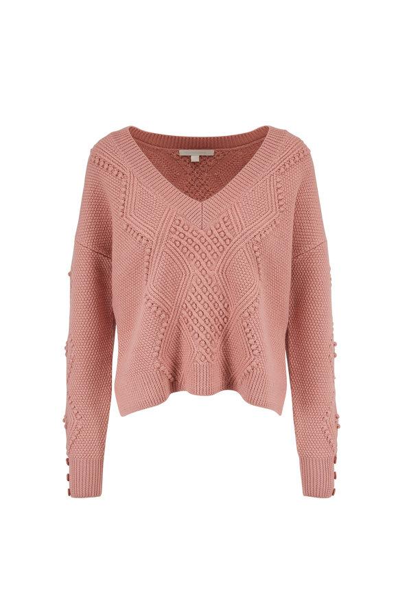 Jonathan Simkhai Antique Rose Lofty Wool V-Neck Sweater