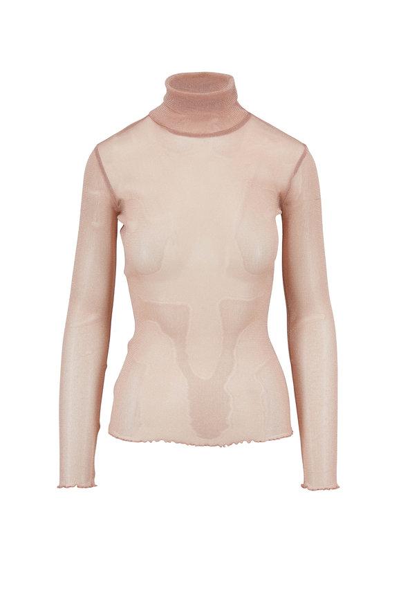 Jonathan Simkhai Antique Rose Shimmer Sheer Turtleneck Sweater