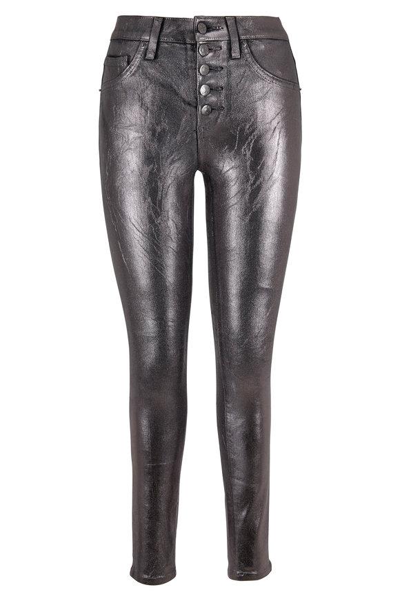 Veronica Beard Debbie Gunmetal Coated High-Rise Skinny Jean