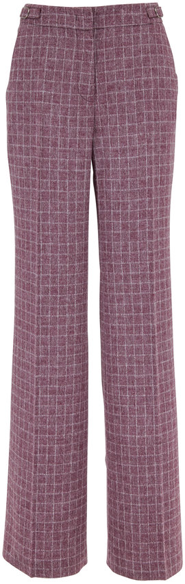 Gabriela Hearst Torres Mulberry Wool Abstract Check Wool Pant