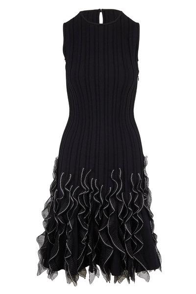 Alexander McQueen - Black & Ivory Ruffle Hem Sleeveless Knit Dress