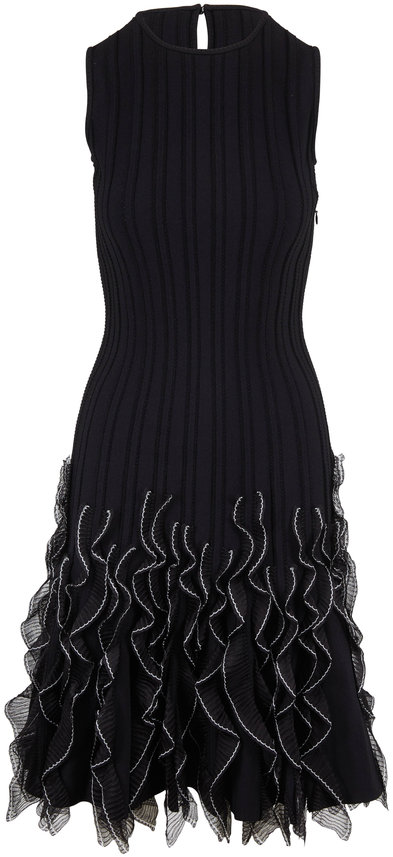 Alexander McQueen Black & Ivory Ruffle Hem Sleeveless Knit Dress