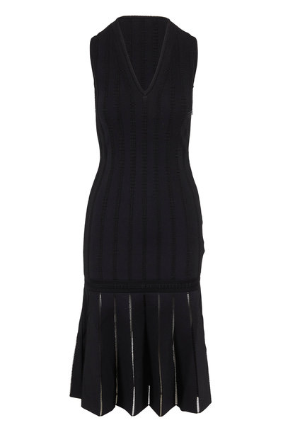 Alexander McQueen - Black Knit V-Neck Sleeveless Midi Dress