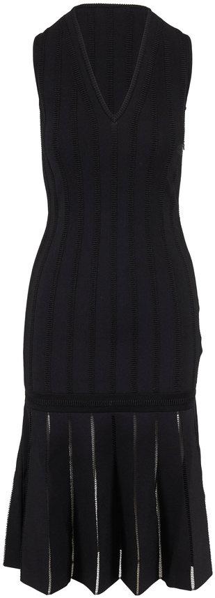 Alexander McQueen Black Knit V-Neck Sleeveless Midi Dress