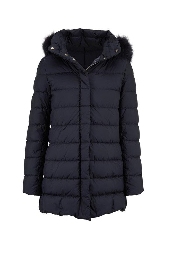 Herno Navy Fur Trim Hood Hi-Low Hem Puffer Coat