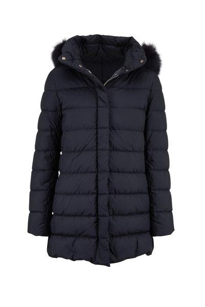 Herno - Navy Fur Trim Hood Hi-Low Hem Puffer Coat