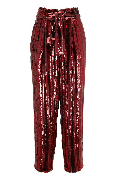 Sally LaPointe - Crimson Stripe Sequined Tapered Belted Pant