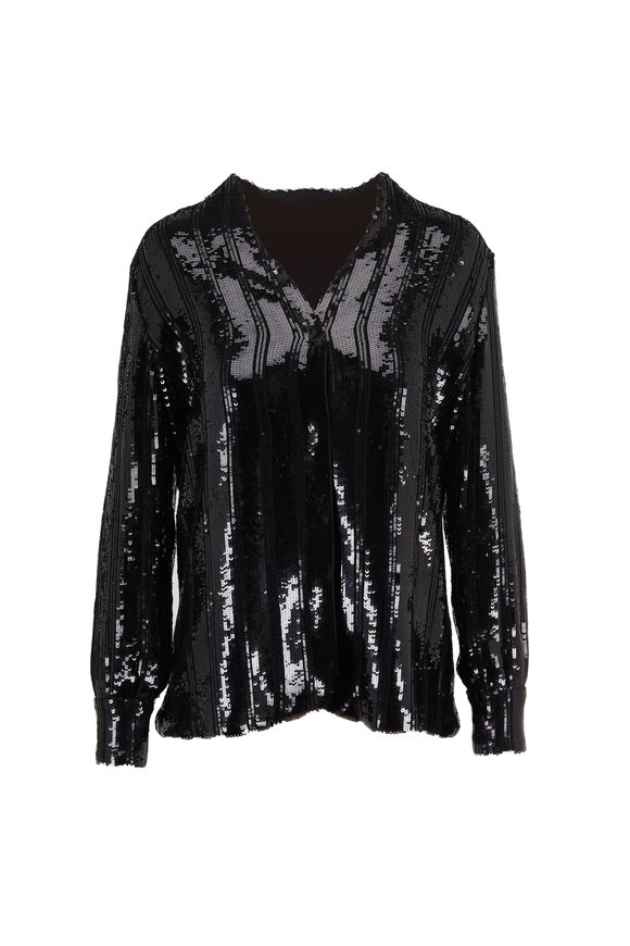 Sally LaPointe Black Striped Sequin V-Neck Jacket
