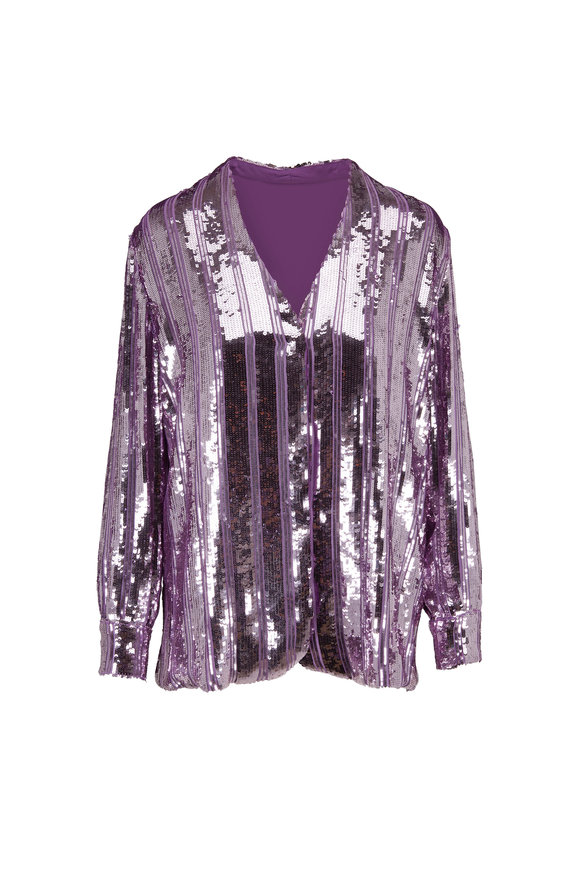 Sally LaPointe Lavender Striped Sequin V-Neck Jacket
