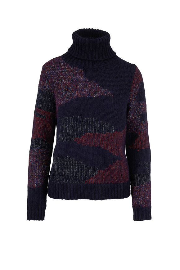 Veronica Beard Naledi Navy Multi Intarsia Turtleneck Sweater