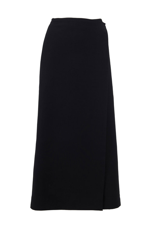 The Row Saio Black Wool & Silk Midi Skirt