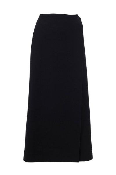 The Row - Saio Black Wool & Silk Midi Skirt