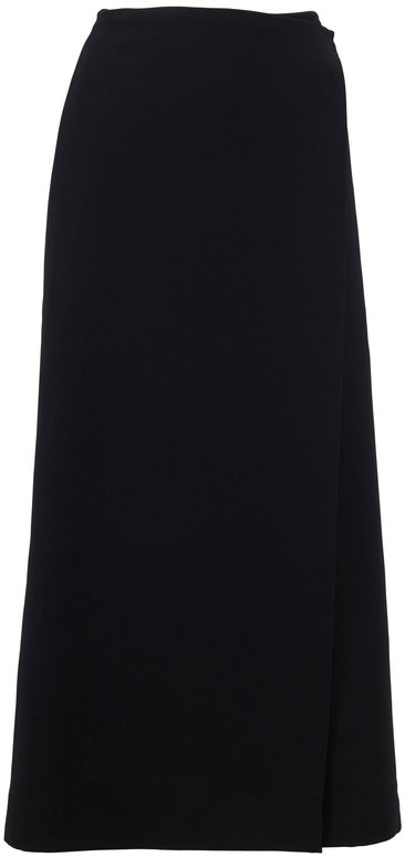 The Row Saio Black Wool & Silk Midi Skirt