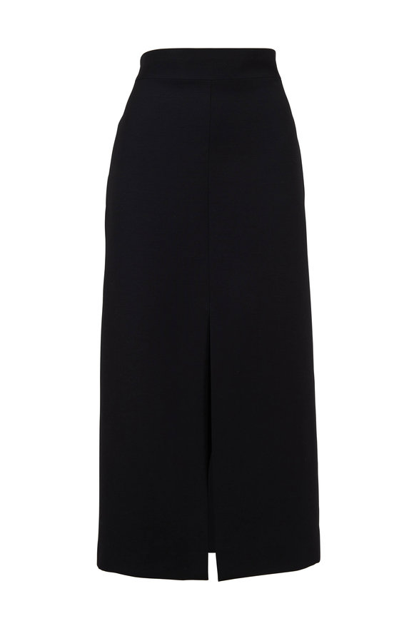 Valentino Black Wool & Silk Front Slit Straight Skirt