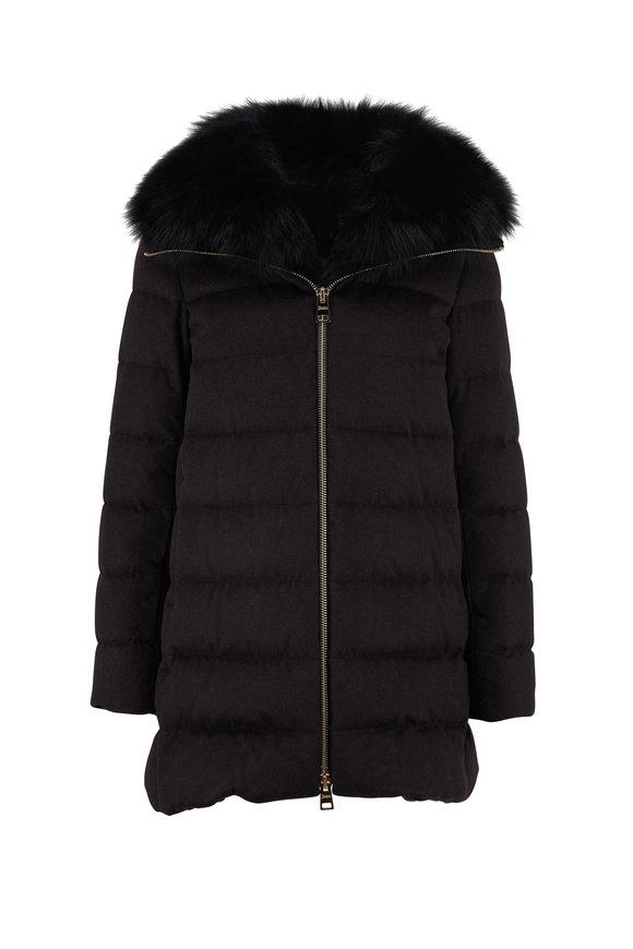 Herno Black Silk & Cashmere Fur Collar Puffer Coat