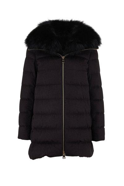 Herno - Black Silk & Cashmere Fur Collar Puffer Coat