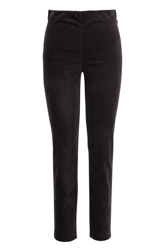 D.Exterior Charcoal Gray Velvet Pull On Pant