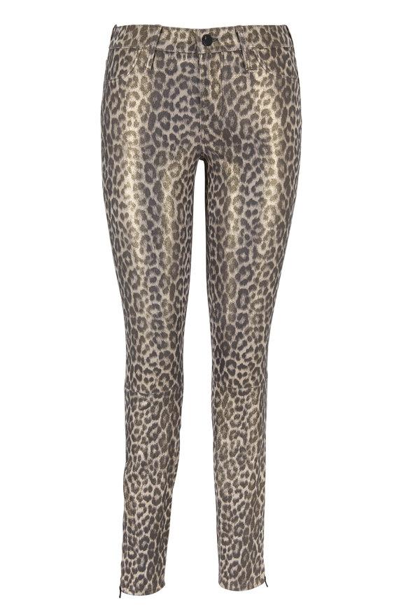 J Brand Metallic Jaguar Print Leather Mid-Rise Pant