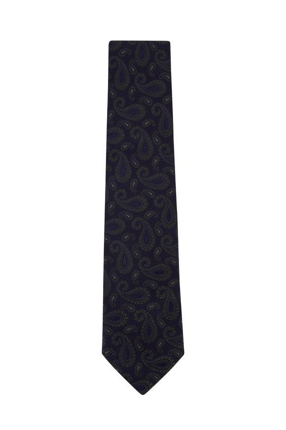 Isaia Blue & Green Paisley Silk Necktie