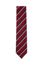 Ermenegildo Zegna - Red & Navy Blue Striped Silk Necktie