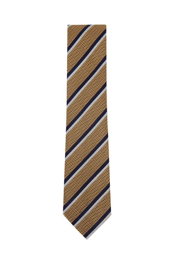 Ermenegildo Zegna Yellow & Navy Diagonal Striped Silk Necktie