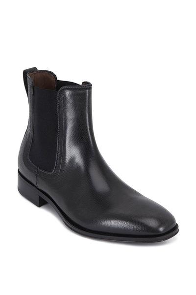 Salvatore Ferragamo - Darien Anthracite Pebbled Leather Boot
