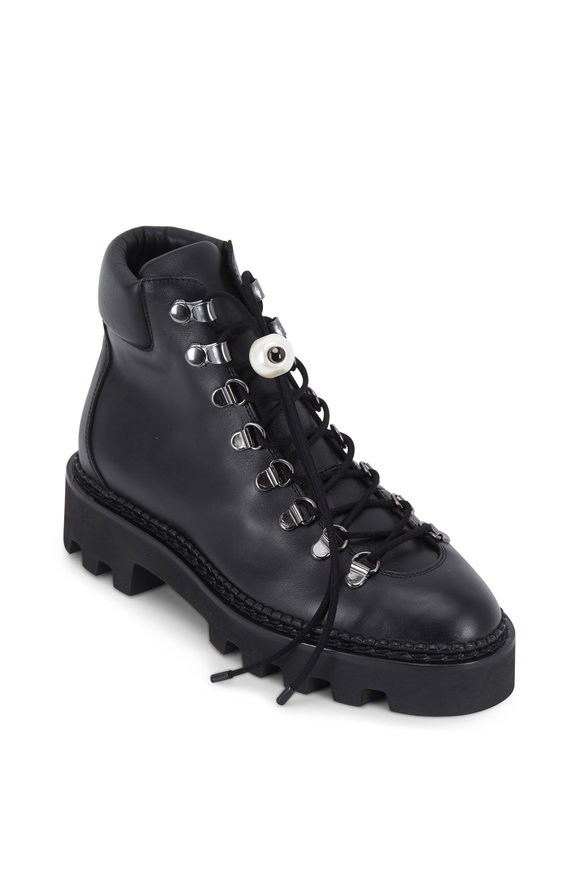 Nicholas Kirkwood Delfi Black Leather Lace-Up Hiking Boot