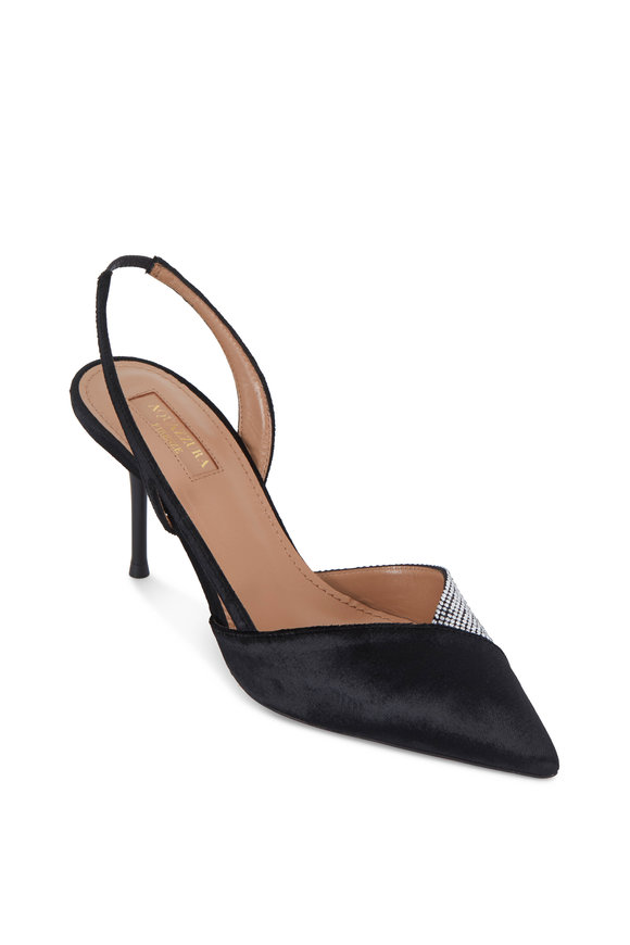 Aquazzura Salome Black Velvet & Crystal Slingback, 75mm