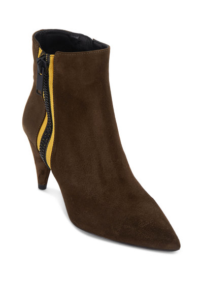 Veronica Beard - Roxie Military Green Suede Ankle Boot, 85mm