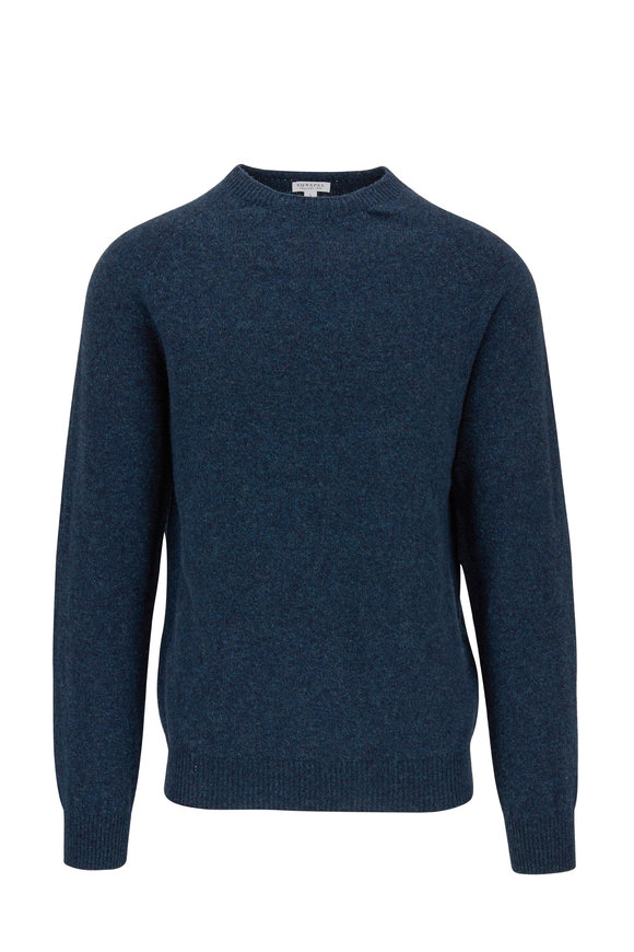 Sunspel Petrol Crewneck Lambswool Sweater