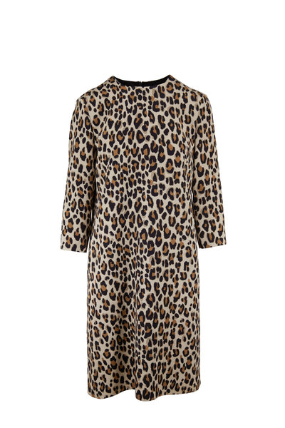 Escada - Divisus Leopard Three-Quarter Sleeve Shift Dress
