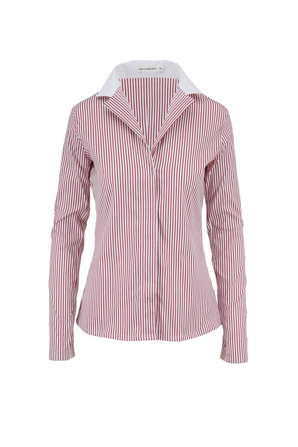 Lareida Catharina Red & White Stripe Stretch Poplin Blouse