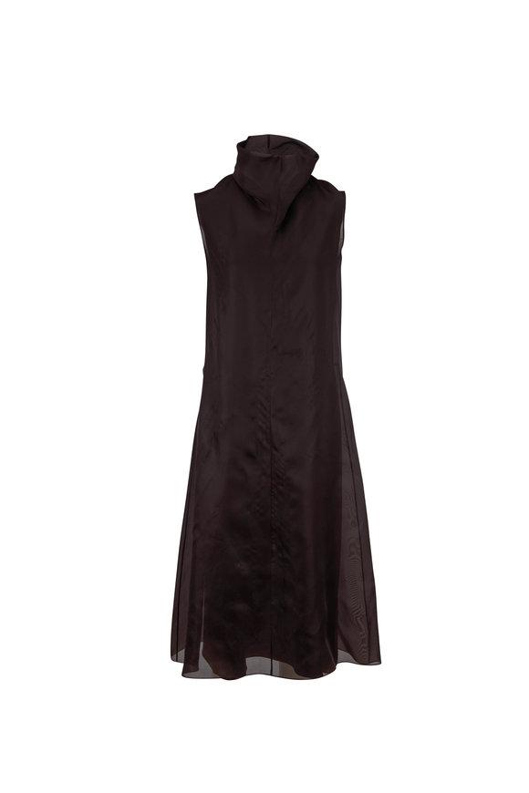 The Row Virginia Espresso Sleeveless Turtleneck Dress