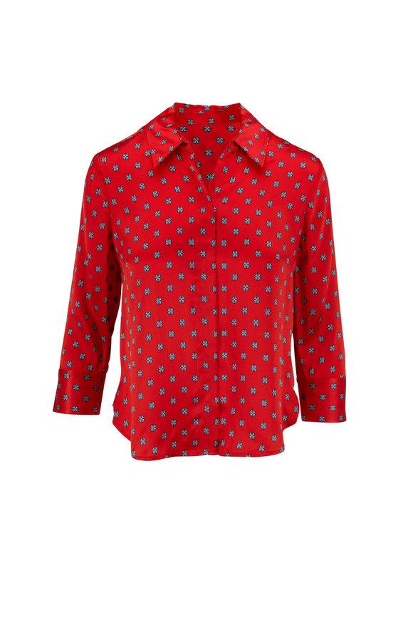 L'Agence Jil Red Silk Medallion Print Crop Blouse