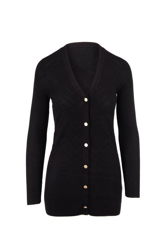 L'Agence Mille Black Zig-Zag Knit Cardigan